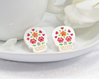 Multicolor Red and Orange Hand-Painted Pearl White Sugar Skull Post Earring
