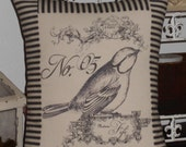 French Post Card No. 5  Bird Pillow with Black and Off White Ticking Stripe, Bird Throw Pillow Cover, Mademoiselle Fifi No. 05