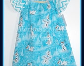 Frozen Olaf  Retro Fashion Peasant Style Girls Dress Size 2T  Hand Made  Ready To Ship Party Dress