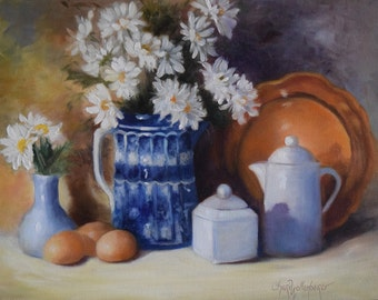 Still Life Painting, Farmhouse Chic Blue, 14x18 Oil on Canvas, Original Painting by Cheri Wollenberg
