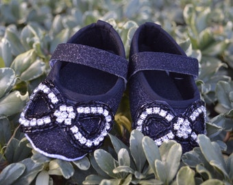 Baby Infant Crib Shoe Black Rhinestone Holiday Bow Ballet Shoes Flat by Oh Baby Couture