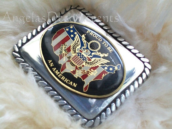REDUCED Vintage Belt Buckle Proud to be an America Stainless Steel Square~Everyday Casual Wear~Stainless Buckle~Braided Steel~Polished Steel