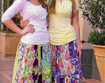 Sale!  Hippy Chick stripwork skirts pattern (PFP019) - Pink Fig