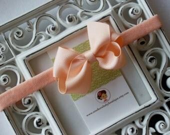 New Item----Boutique Baby Girl Hair bow Dainty Headband-----Peach