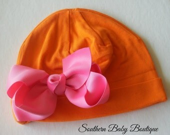 NEW----Boutique Hospital Pictures Knit Beanie Cap with Hairbow Clip Set----Orange and Hot Pink----Fits 0-6 Months