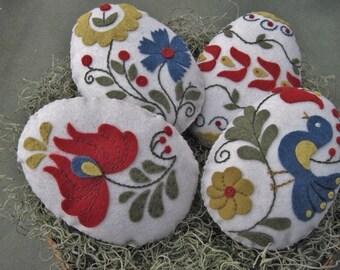 Easter Egg Bowl Fillers (Hungarian Folk Art Motifs) Hand Embroidered