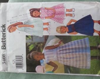 Girls Sun Dress Flower Girl Party 6 7 8 Butterick 3408