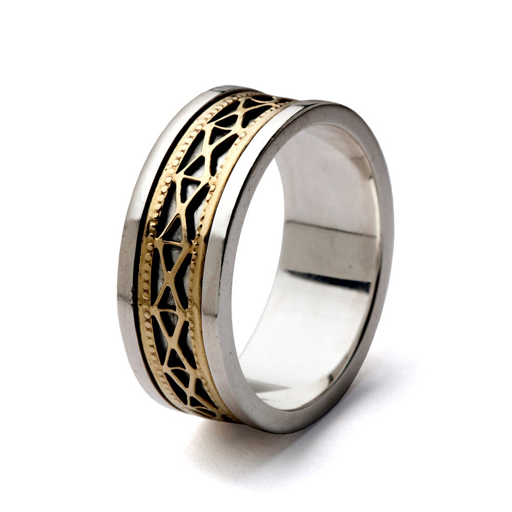 filigree wedding band two tone wedding band women39s by arosha With wedding rings filigree womens