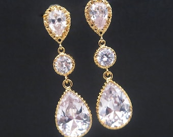 Gold crystal earrings, Bridal earrings, Wedding earrings, Cubic zirconia earrings, Bridesmaid earrings
