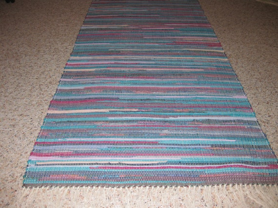 Handwoven teal navy fushia rag rug 25 x 61 m for Navy and teal rug