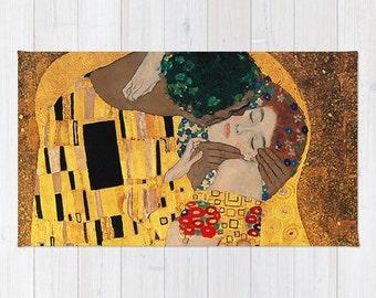 The Kiss Floor Rug Interracial Art Love Wedding Couple Romantic Home Decor Fantasy Gold Rug