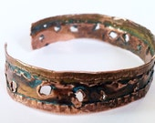 Distressed Copper Cuff with faux Bullet Holes