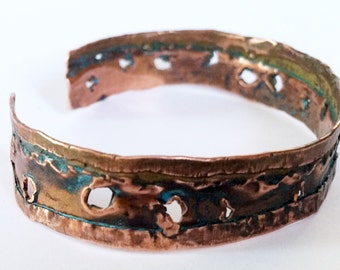 Copper Cuff Bracelet Distressed Metal