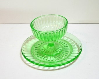 Green Depression Glass Dessert Set, Compote And Saucer