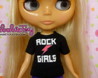 Black Cotton Jersey T-Shirt for Blythe - Rock Girls
