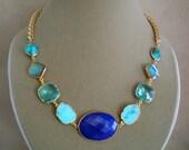 Lapis Lazuli, Turquoise, Aqua Quartz, and Labradorite Large Connector Necklace