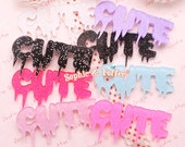 Glitter Spooky Cute Word Laser Cut Acrylic Pieces | Acrylic Pieces Crafts | Acrylic Pieces for Jewelry - 5pcs