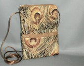 Sling Bag Purse - Passport Purse - Wallet on a String - Feathers - Peacock - Gold
