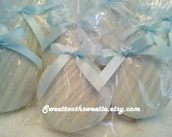 Baptism Cookies Baby Blue and White Chocolate Covered Oreo Cookies Baptism Favors Baptism Cookies Christening Baby Shower Cookies