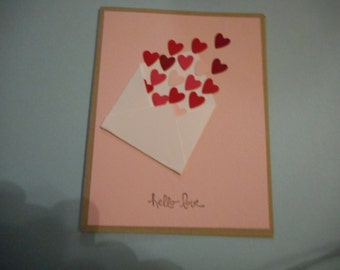 Stampin up Valentines card, hello love envelope included