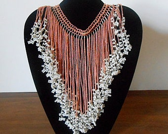 Vintage Handcrafted Glass Bead Choker, Bib, Collar Necklace, Peach, White, Artisinal, Boho.  FREE SHIPPING Within the U.S.