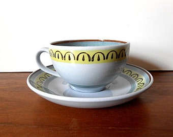"SMALL Midcentury Modern Arabia Finland ""Crown Band"" SET of Four (4) Flat Cups and Saucers"