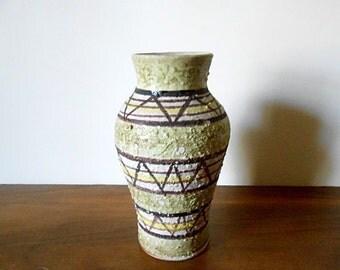 Modernist Rossini Originals Italian Art Pottery Vase, Green, Brown, Yellow, Geometric