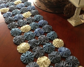 Blue and white snow winter Table runner or wall hanging