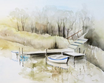 original watercolor painting of a meditative boat scene