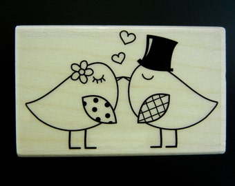 Hero Arts TWO BIRDS Wood Mount Rubber Stamp