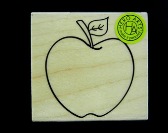 BACK To SCHOOL APPLE Hero Arts Wood Mount Rubber Stamp