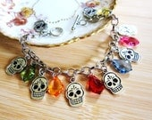 Day of the Dead Skull and Acrylic Drop Charm Bracelet