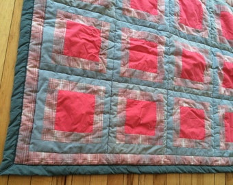 Baby Quilt Size 38 x 28 hot pink grey plaid
