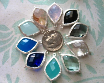10 pcs .. 10% Less  / Glass Pendant Charm / 22x14 mm, Arabesque Teardrop Silver or Gold Plated Brass Framed Gemstone, pick color, GP2.mm ll