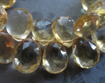 CITRINE Pear  Briolettes, Luxe AAA, 10-12 mm Soft Medium Yellow .. brides bridal. november birthstone 1012