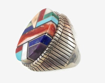 Turquoise Ring, Sterling Silver, Vintage Zuni, Native American, Inlay Inlaid, Statement Ring, Big Unisex, Mens Mans, Southwestern