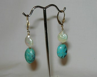 Handmade Earrings - Turquoise and Freshwater Coin Pearls - Pierced