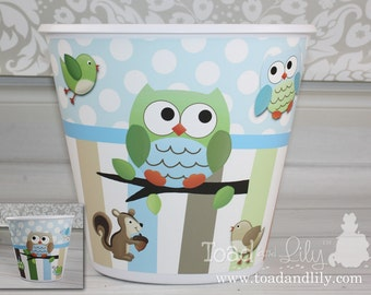 Owls Love Stripes Boys TRASH CAN Garbage Container Kids Bedroom Baby Nursery TC0004