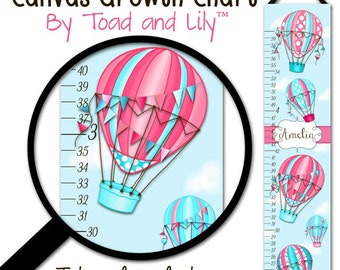 Canvas GROWTH CHART Hot Air Balloon Coral and Turquoise Bedroom Baby Nursery Bedroom Wall Art GC0268