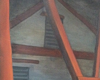 Photo impressionistic unique oil painting 'Barn Geometrics' an oil painting by artist Jean Macaluso