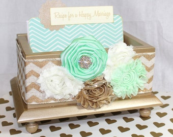 GUEST Book Box, Advice Box, Advice Cards, Mint and Gold Wedding, Bridal Shower, Gold Box, Chevron, Custom colors