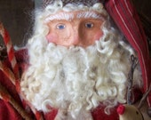 Primitive Christmas Santa Art Doll Clay Sculpted with Reindeer & Grungy Candy Canes ofg hafair faap CIJ