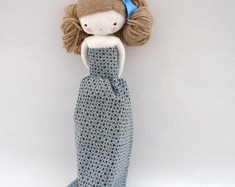 Marilyn handmade rag doll  cloth doll with long dress and bow