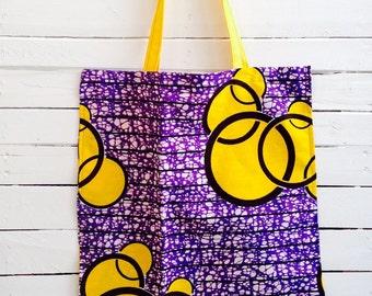 Shopping tote wax print Purple Yellow