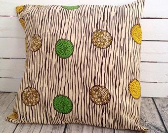 Wood Grain Cushion pillow cover, African wax print, Throw Pillow, scatter cushion  (17 inch) Green Yellow decorative pillows