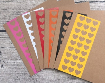 6 heart wedding invitations, heart wedding invitation card set with envelopes, Bright wedding invitation