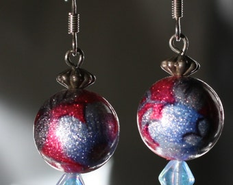 Blue and Pink Ball Earrings