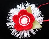 Mikaela / Holiday crochet flower skinny headband