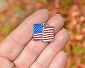 1 Silver and Enamel  American Flag Charm SC3145