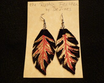 The 'Rustic Feather' Hand cut and Hand painted Suede Leather Dangle Earrings in Gold and Red